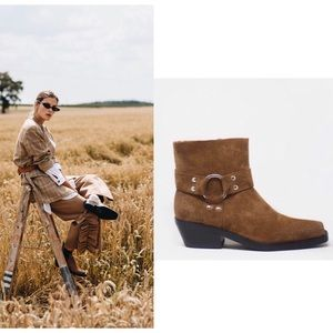Free People x Jeffrey Campbell Western Suede Boots